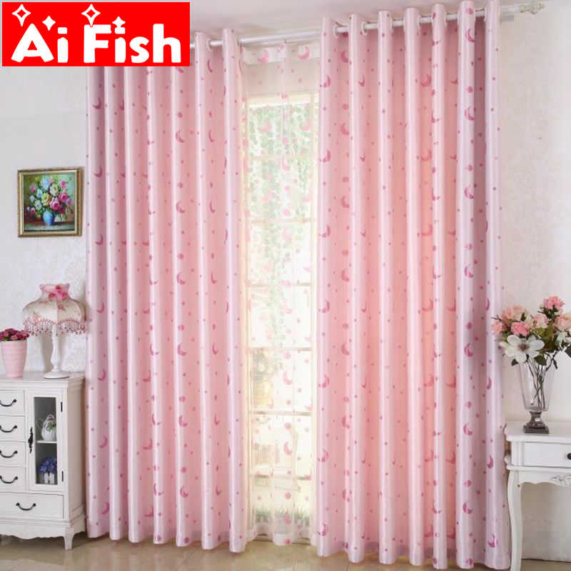 Fashion Lovely Pink Star and Moon Print Princess Room For Girls Curtain For Living Room the Bedroom Panels Drapes DF028-30