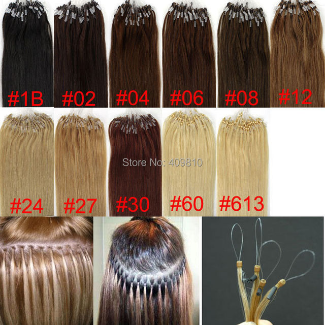 7A 16 - 24 дюймов 1 # 1B # 2 # 4 # 6 # 27 # 30 # 99J # 24 # 60 # 613 # микро-цикла выдвижения волос 1 г / strands 200 strands / много бразильских волос