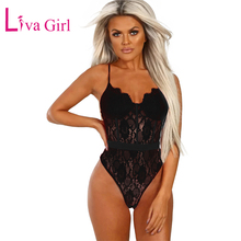 LIVA GIRL Black/Red Lace Bodysuit for Women Summer Sexy Sheer Hollow Out Sleeveless Bodysuits Combinaison Femme Skinny Body Tops