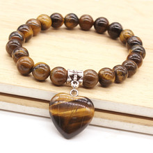 Kraft-beads Silver Plated Love Heart Natural Tiger Eye Stone Connect Round Beads Bracelet Romantic Jewelry