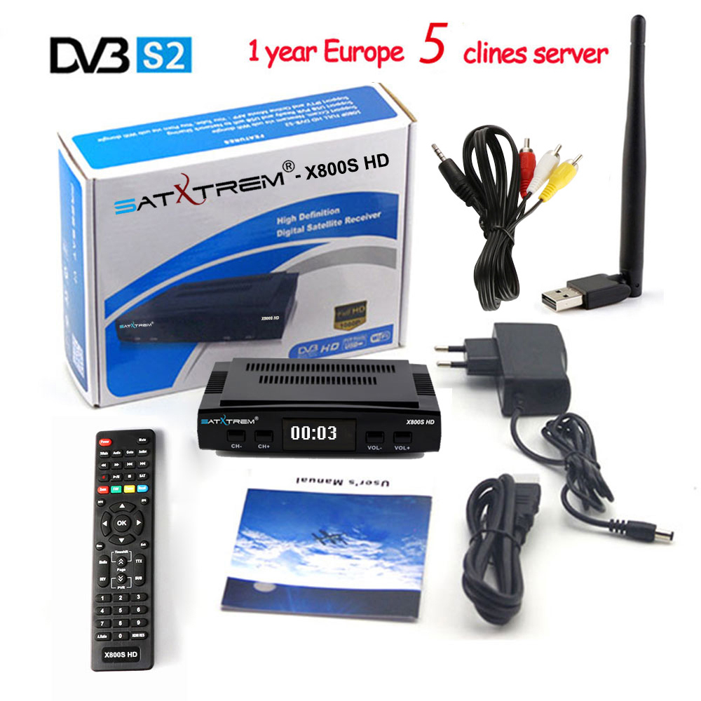 PK V7 X800S HD Receptor DVB S2 Satellite TV Receiver+USB WIFI 1080P Decoder for 1 Year Europe 5 Clines support YouTube,Youporn