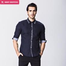 Camisas Hombre Camisa de Vestir de Los Hombres de Estilo Europeo hombres de Alta Cierre Diseño de Impresión de Punto de La Manera Ocasional Camisa Delgada del Ajuste, gx207