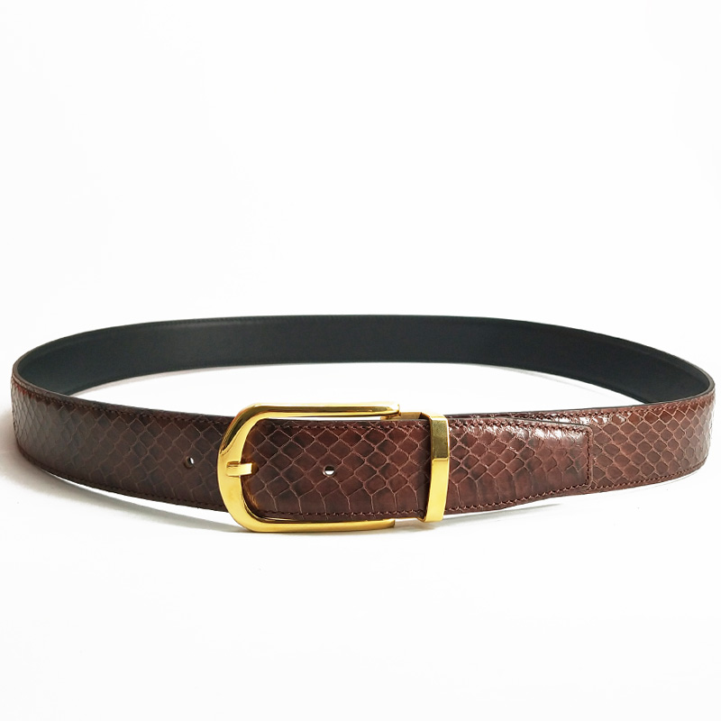 McParko пояс из кожи змеи натуральная кожа поясной ремень мужской роскошный бренд деловой формальный ремень для костюма брюки синий коричневы... - 5