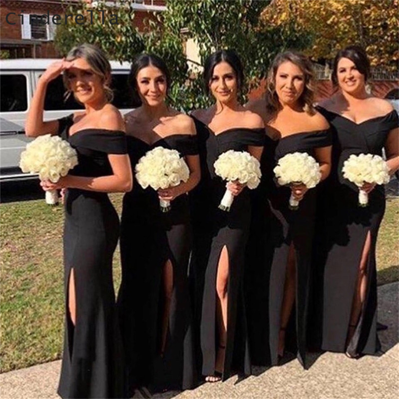 Cinderella Africa Black Off The Shoudler Mermaid Satin Pleated Women   Bridesmaid     Dresses   Africa Wedding Party   Bridesmaid   Gowns