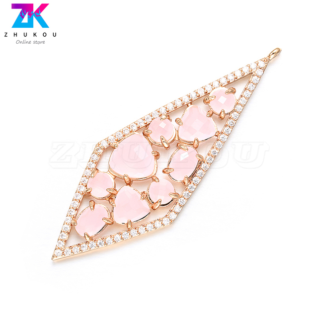 ZHUKOU 20x56mm DIY handmade Diamond Earrings Pendant Bracelets&Necklace Jewelry Accessories Necklace charms Jewelry Making VD385 2