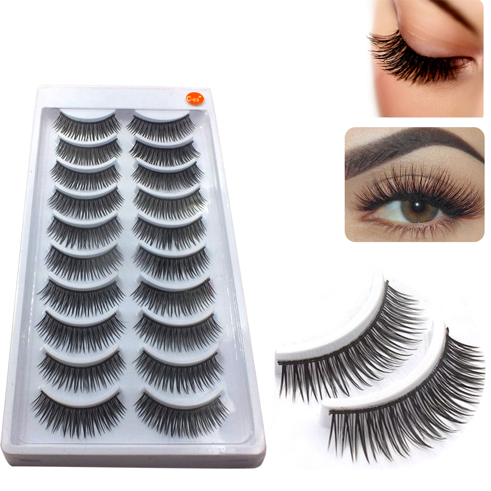 10 Pairs Cotton Stems Handmade False Eyelash 3D Curly Natural Eye Lashes Extention Smokey Makeup Tool Fake Wimper Kit