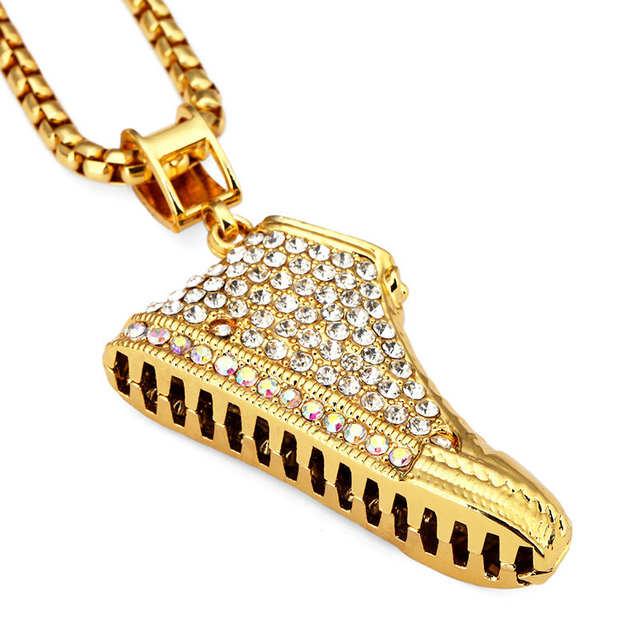 placeholder NYUK 10pcs Lot Gold Sneaker Shoe 3D Crystal Iced Out Shoes Pendant  Necklace Hip Hop 5407c01eafcb