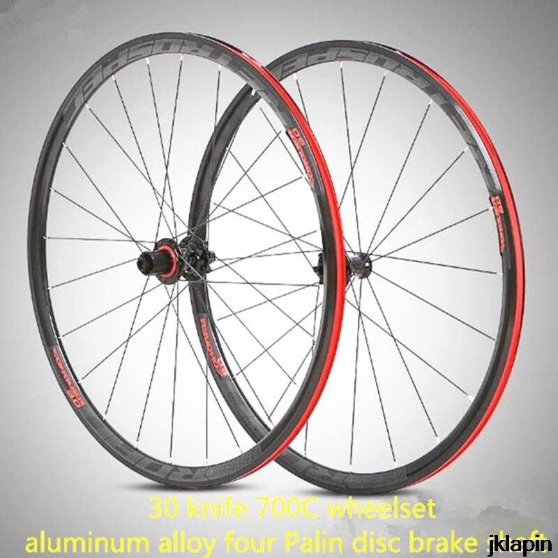 C3.0 Aluminum Alloy 30mm Rim 700C Road Bike Racing Wheelset Sealed Bearing Disc Brake QR Shaft Thru-axis Off-road Wheel Set