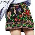 Gcarol 2017 nova coleção mulheres bordado floral mini saia a-line técnico complexo bordado saia retro para 4 temporada