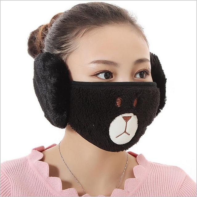 Cute bear design women Ear protective mouth mask Windproof earmuff anti dust winter masks girls Anti Haze Flu cotton Face masks 3