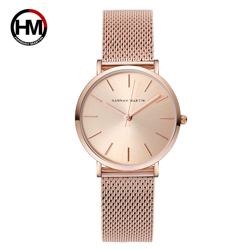 HM Top Brand Luxury Women Watches Rose Gold Simple Casual Stainless Steel Small Dial Bracelet Mesh Quartz Lady Girl Wristwatch