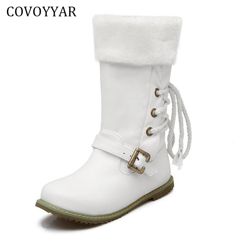 White Boots Woman 2019 Winter Fall Back Lace Up Mid Calf Boots Fashion Slip On Warm Fur Shoes Women Sizes 34 43 WBS235