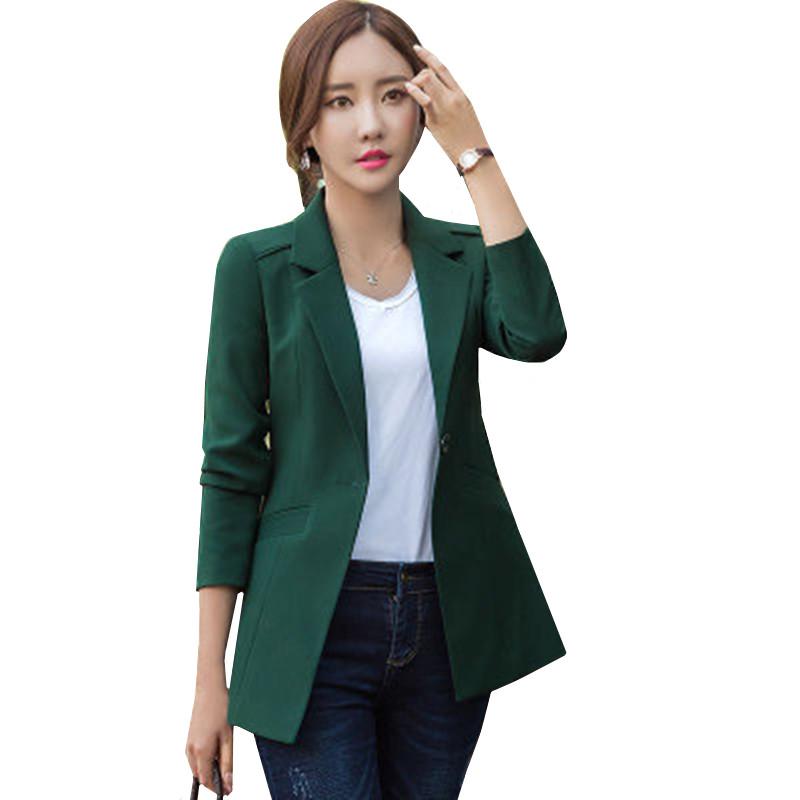 2019 Women's Blazer Long Sleeve Blazers Solid One Button Coat Office Lady Jacket Female Suit Blazer Femme spring Jackets size3XL