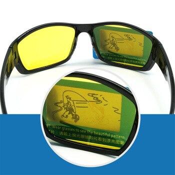 NEWBOLER Vissen Bril Night Versie Gepolariseerde Zonnebril Mannen Vrouwen Outdoor Sport Brillen Rijden Geel Bruin Lenzen