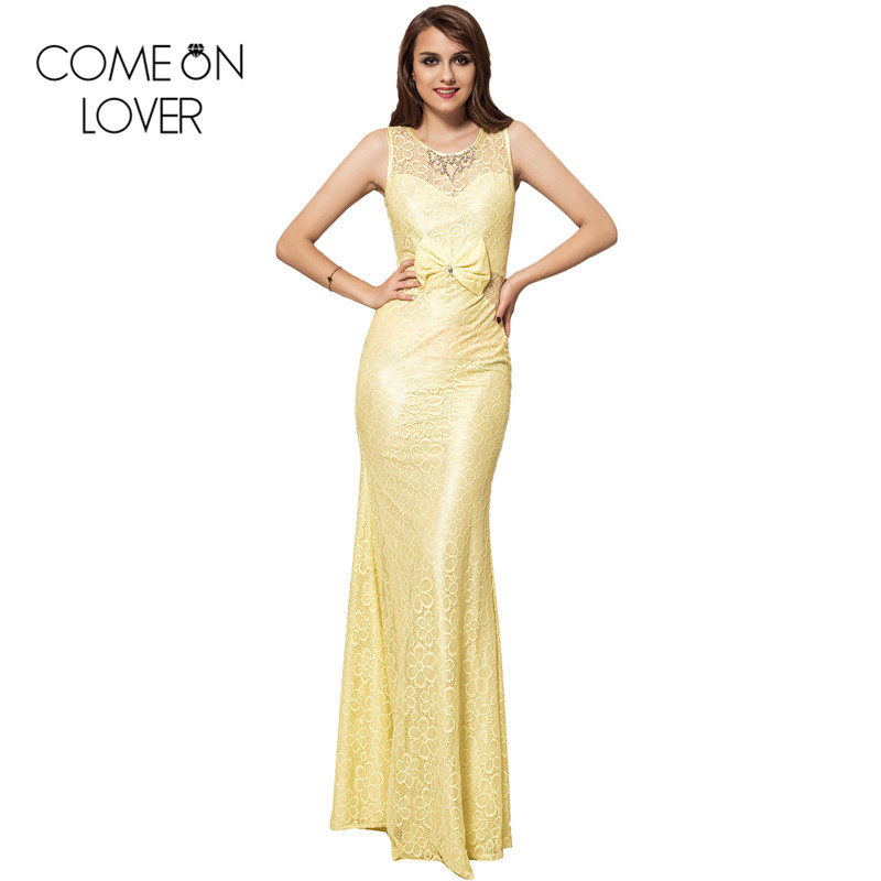 European style women dress yellow/black flroal backless lace dress sexy for evening party maxi dress vestidos formales VE1026