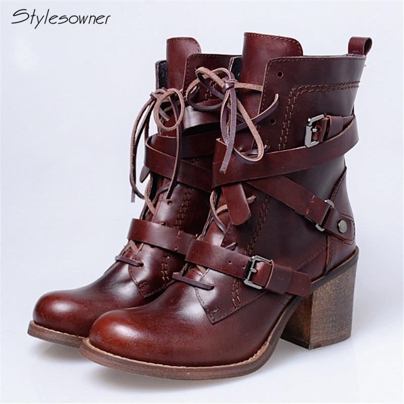 Здесь продается  Stylesowner Modern Retro Fashion Brand Martin Boots Women Lining Add Wool Thick Heels 2017 New Arrived Antique Motorcycle Boots   Обувь