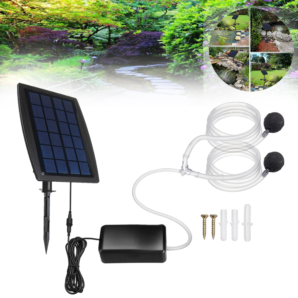 Solar Powered Charging Oxygenator Water Oxygen Pump Pond Aerator with 2 Air Stone Fish Tank Aquarium AirpumpSolar Powered Charging Oxygenator Water Oxygen Pump Pond Aerator with 2 Air Stone Fish Tank Aquarium Airpump