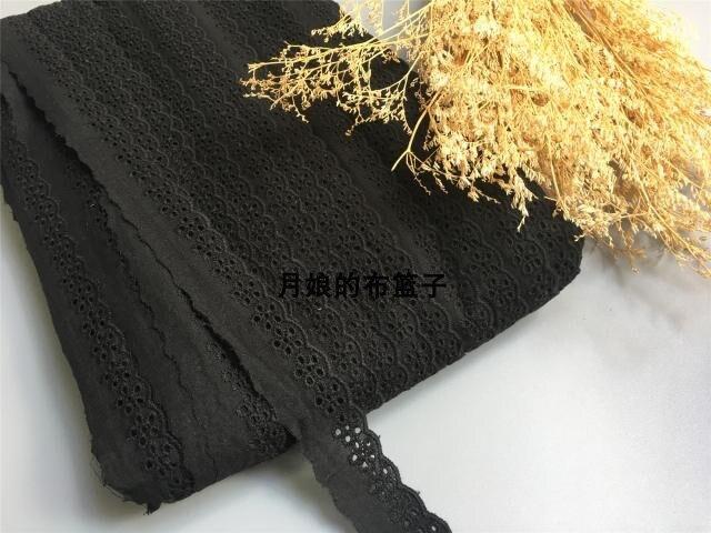 5 יואן 13 מטרים DIY יד מרופדת כותנה בד תחרה שחור כותנה רקמת תחרה 2.5 cm