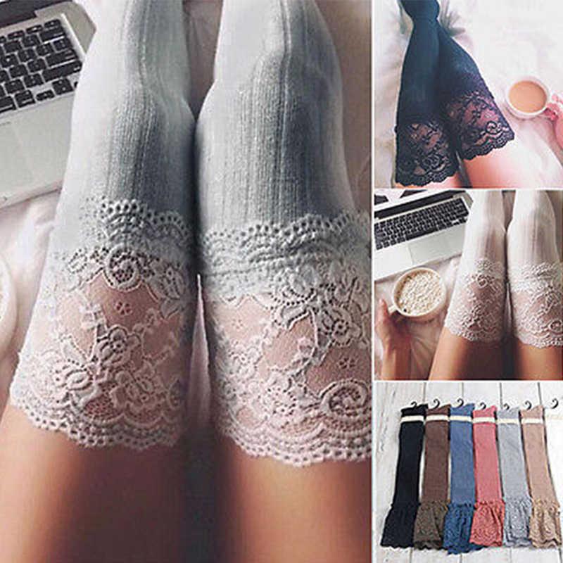 เซ็กซี่ผู้หญิง Lace Floral ต้นขาสูงกว่าเข่าถุงน่องขาถักสูงต้นขาถุงน่องสีดำ