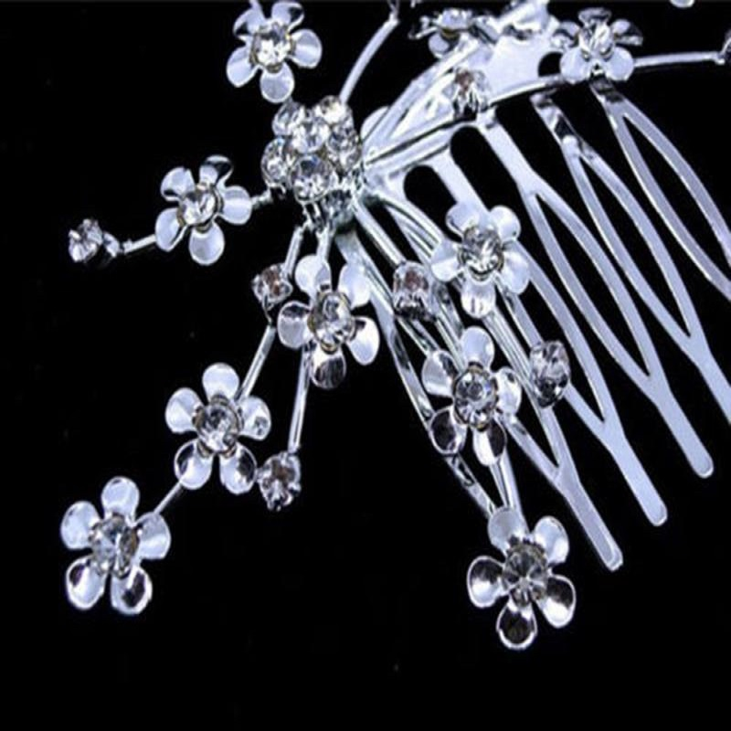 Aksesoris Rambut pengantin Warna Silver Vintage Wedding Party Bridal - Perhiasan fashion - Foto 3