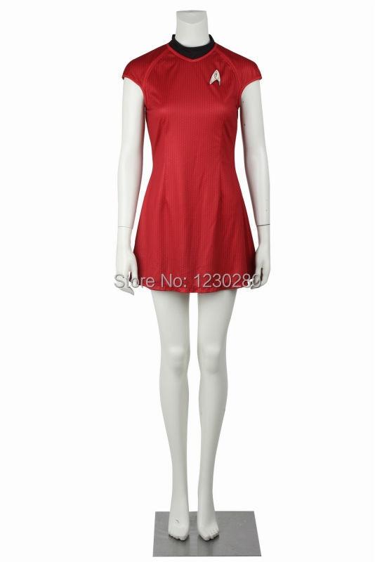 819b7425bd2 Фильм Star Trek в темноте Ухура красный летнее платье Косплэй Связь ...