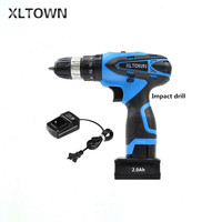 XLTOWN25V 2000mA Impact Drill Rechargeable Lithium Battery Electric Screwdriver Multifunction Cordless Household Electric Drill