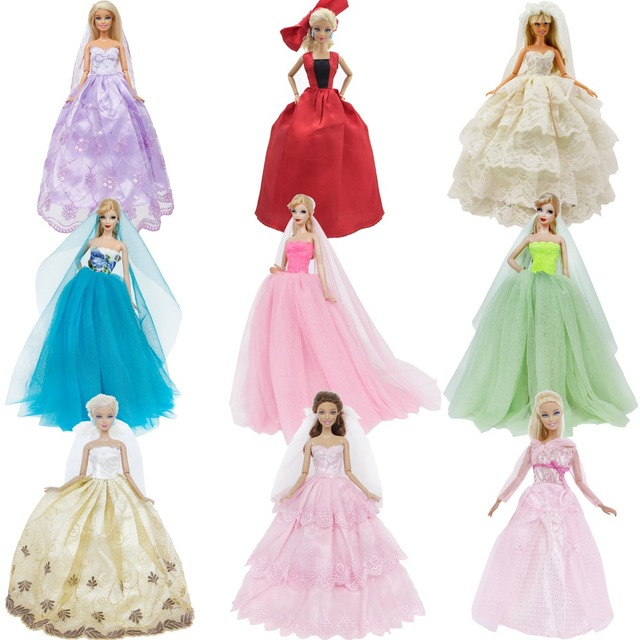 Handmade Wedding Dress Princess Evening Party Ball Long Gown Skirt Bridal Veil Clothes For Barbie Doll Accessories xMas Gift Toy