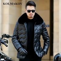 KOLMAKOV 2018 New Men's PU Down Jackets Fox Fur Collar Coats Winter Mens Short Parkas M 3XL Thicken Waterproof Overcoats Homme