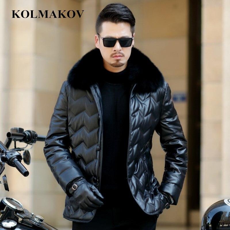 KOLMAKOV 2018 New Men's PU   Down   Jackets Fox Fur Collar   Coats   Winter Mens Short Parkas M-3XL Thicken Waterproof Overcoats Homme