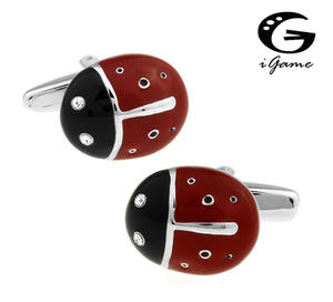 Igame Novelty Cufflinks Ladybug-Design Men Fashion Retail Copper for Red Factory-Price