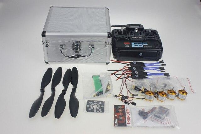Y10335-I Prata Caso Com Transmissor T6EHP-E 30A ESC A2212 1000KV Motor Quadrocopter ESC Board 1045R Hélice QQ Controle De SUPER