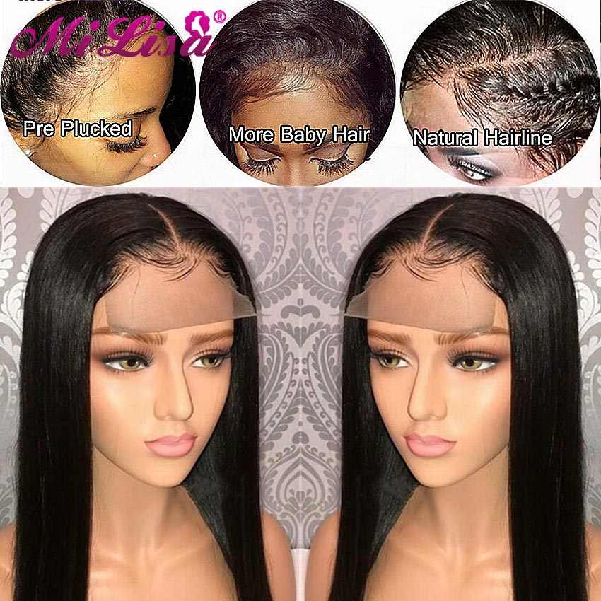 Peluca de cierre de 26 pulgadas pelucas de cabello humano rectas con pelo de bebé Mi Lisa pelo Remy brasileño 4x4 Peluca de cierre de densidad 150
