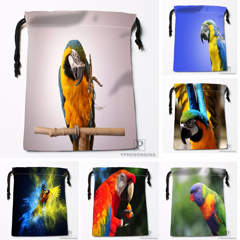 Custom Parrot Cleans Feathers Animals Drawstring Bags Travel Storage Mini Pouch Swim Hiking Toy Bag Size 18x22cm#412-04-11