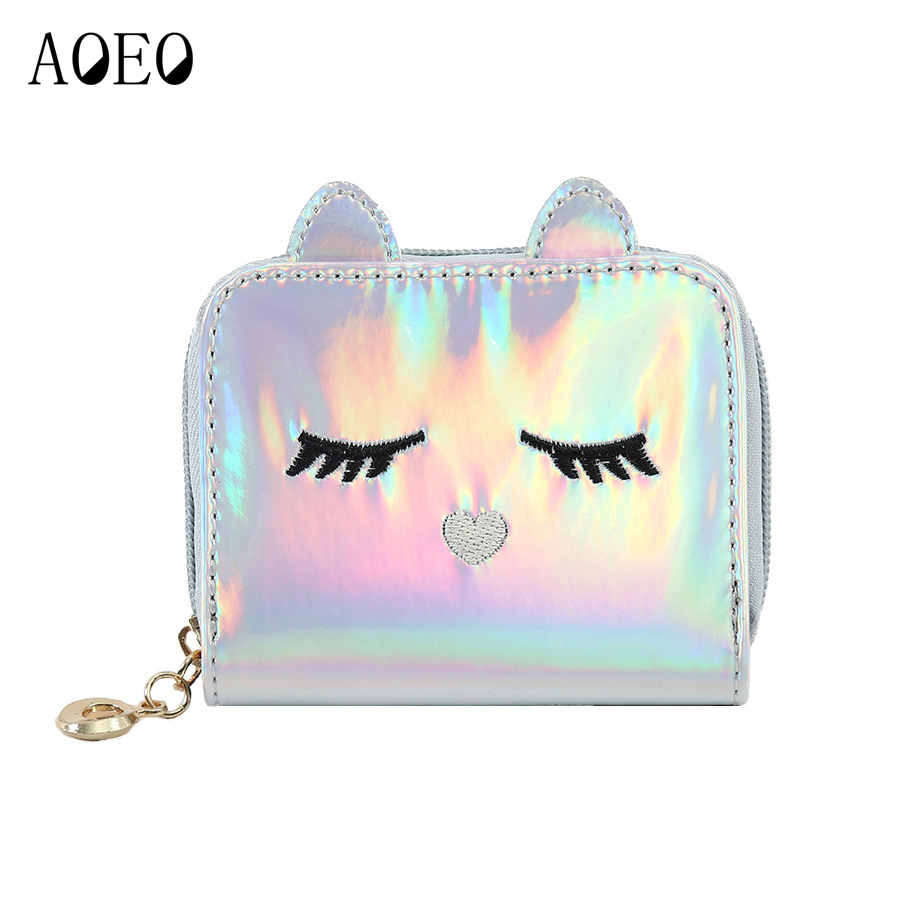 AOEO Mini Hologram Wallet Female 3D Cat Holographic Ladies Bag With Zipper Coin Purse Women Card Id Small Girls Kawaii