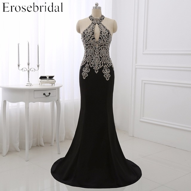 2018 Black Mermaid Evening Dress Plus Size Erosebridal Gold