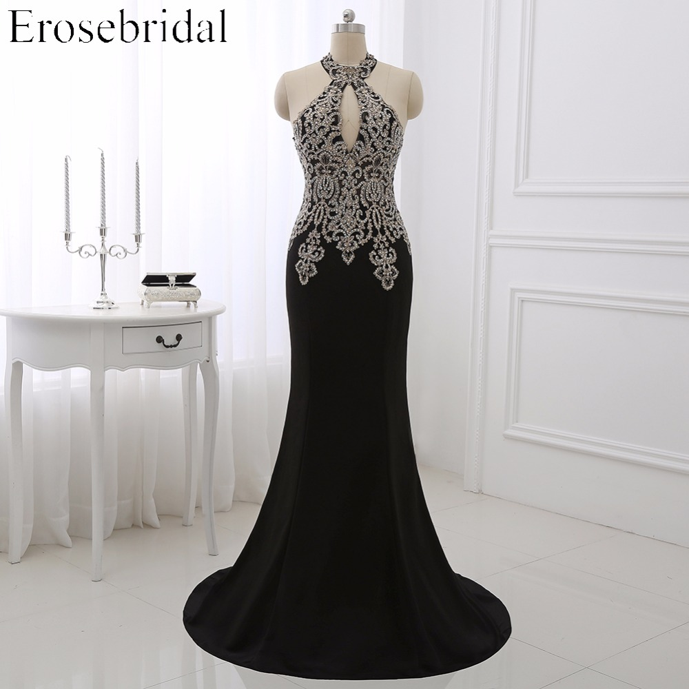 2019 Black Mermaid Evening Dress Plus Size Erosebridal Gold Appliques Bodice Formal Women Party Gowns Halter Dresses ZDH04-in Evening Dresses from Weddings & Events