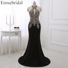 2019 Black Mermaid Evening Dress Plus Size Erosebridal Gold Appliques Bodice Formal Women Party Gowns Halter Dresses ZDH04