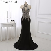High Quality Jersey Mermaid Black Evening Dress Halter Gold Embroidery Floor Length Pageant Party Dress WYE096