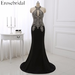 Erose evening dresses black formal women prom party gowns gold appliques sexy halter mermaid dress sleeveless.jpg 250x250