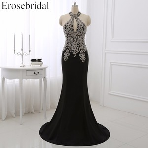 Image 1 - Vestido de noche de sirena de talla grande, ropa erótica, con apliques dorados, corpiño, Formal, de fiesta, Halter, ZDH04, 2019