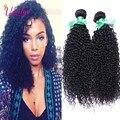 Peruano Virgem Cabelo Kinky Curly 4 Bundles Não Transformados 8A Virgem Grampo de cabelo Em Extensões Do Cabelo Humano Beleza Afro Kinky Curly cabelo