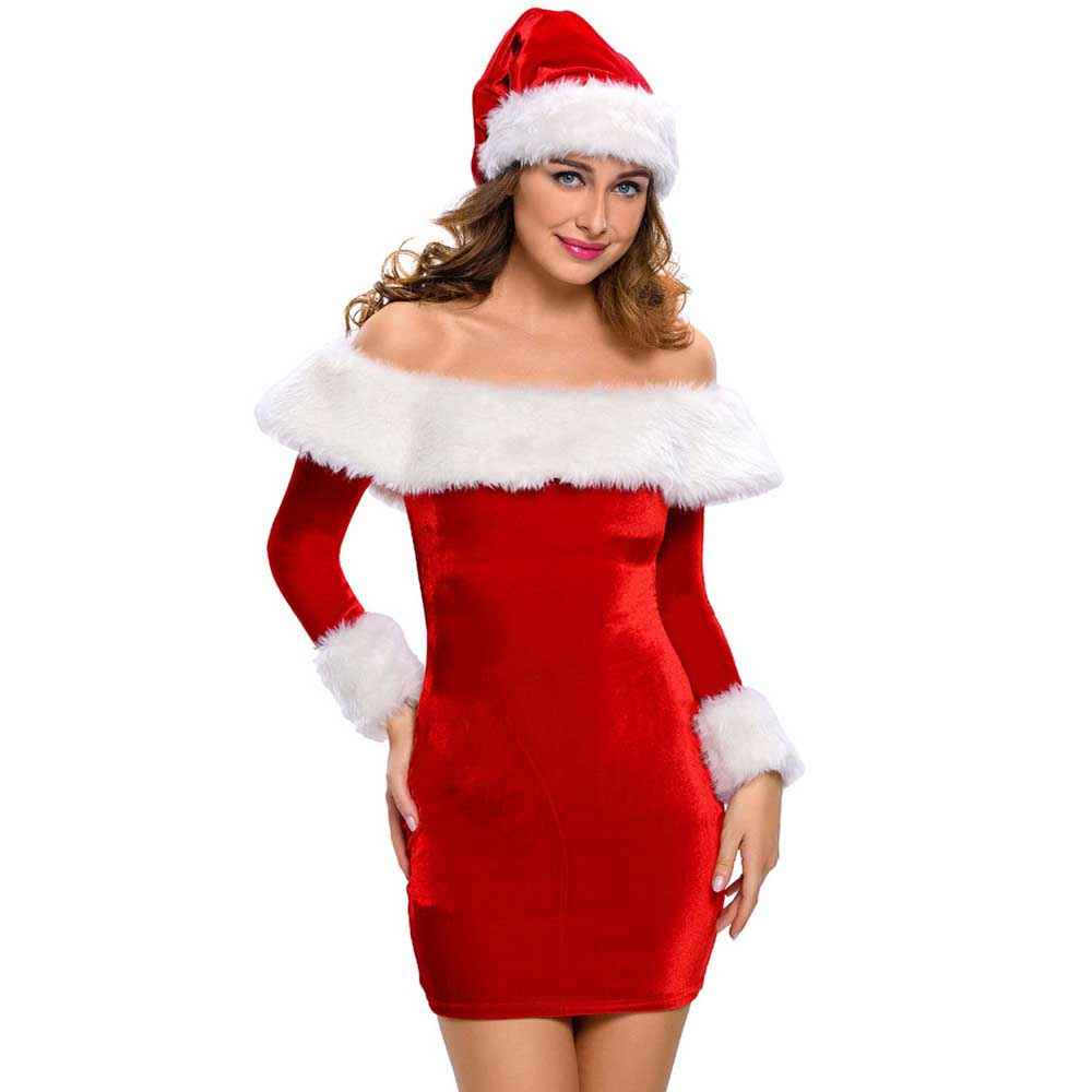 9f0c542cbcb Mrs Santa Claus Costumes Sexy Women Christmas Costume Miss Santa Role Play  Wide Boat Neck Deluxe Plush Fur Trim Dress with Hat-in Holidays Costumes  from ...