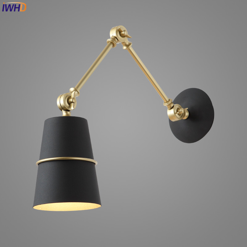 IWHD Nordic Iron Swing Long Arm Wall Light Living Room Beside Lamp Modern LED Wall Lights Sconce Arandela Apliques Pared in LED Indoor Wall Lamps from Lights Lighting