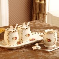 European gold bottle three piece ceramic pot seasoning seasoning box pot seasoning salt monosodium glutamate kitchen set