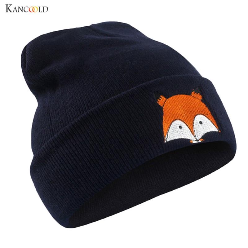 New Fashion Unisex   Skullies     Beanies   Winter Hats For Men Women Warm Knitting Cap Hat Brand Cute Fox Print Gorros Female Cap se192