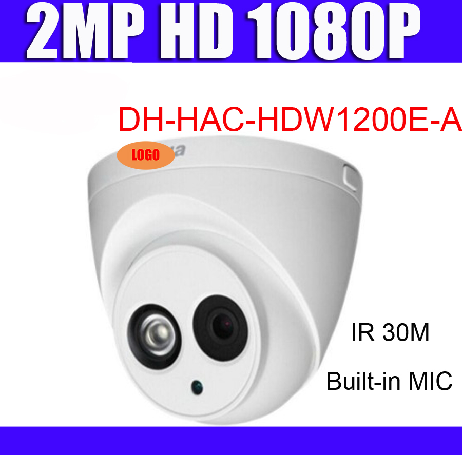 Original Dome HDCVI Camera DH HAC HDW1200E A 2MP HD 1080P IR 30m IP67 built in