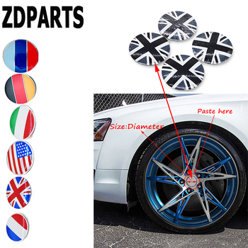 ZDPARTS 56MM Car Styling Flag Wheel Center Hub Cap Cover Sticker For Skoda Octavia A5 A7 2 Rapid Fabia Yeti Superb Volvo V70 image