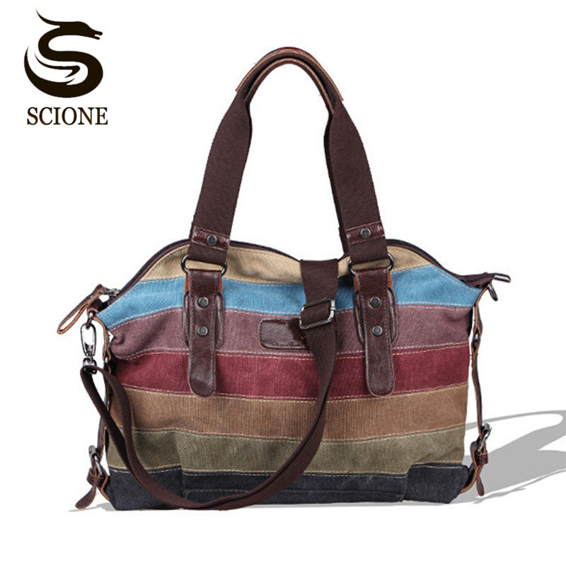 Scione Vintage Canvas Women Shoulder Bag Female Colorful Striped Handbags Large Capacity Rainbow Beach Tote Bag Shopping Totes scione new canvas women bag shopping shoulder bag funny design piano printing handbag beach tote woman canvas hand bags 2pcs set