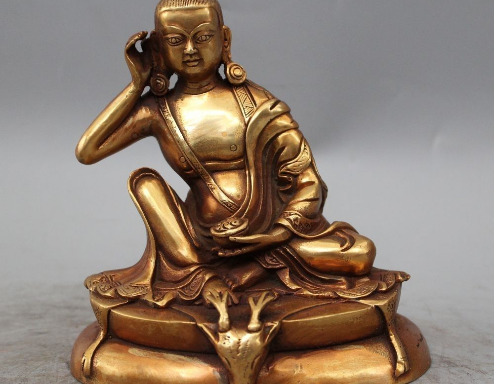 """6""""China Tibetan Buddhism Bronze Gild Milarepa Buddha & Deer Head Statue"""