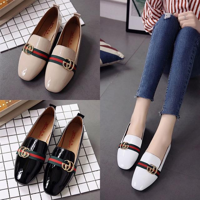 2018 אביב חדש נשים גבירותיי נעליים שטוח פטנט עור סירת נעלי אישה עור מפוצל מזדמן נקבה נעליים שטוח